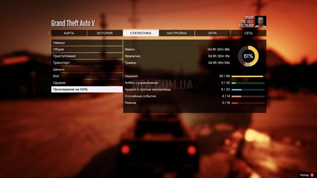 Cохранение GTA 5 ПК 61.1% (пройдены все миссии)