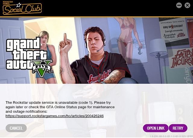The Rockstar update service is unavailable: code 1