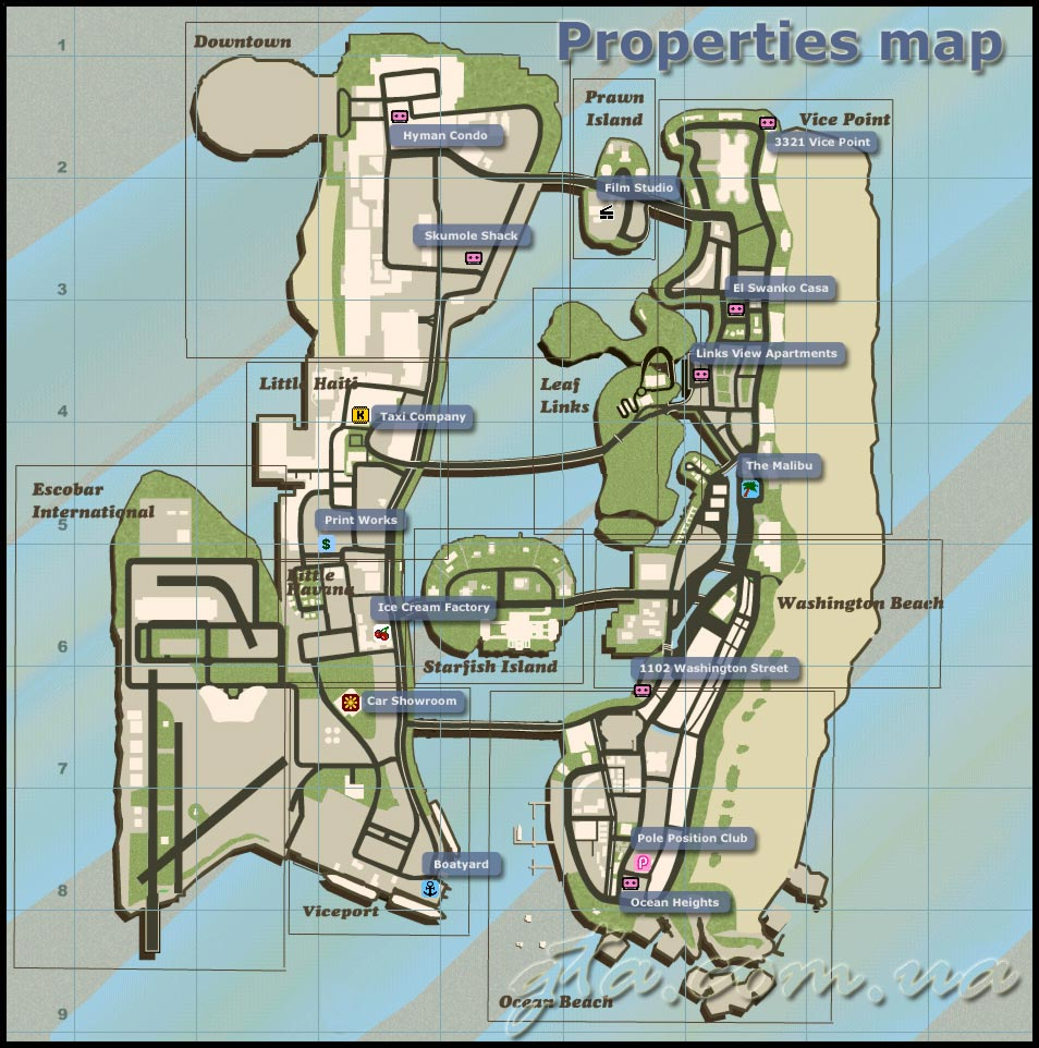 Vice City Map Properties Карты GTA: Vice C...