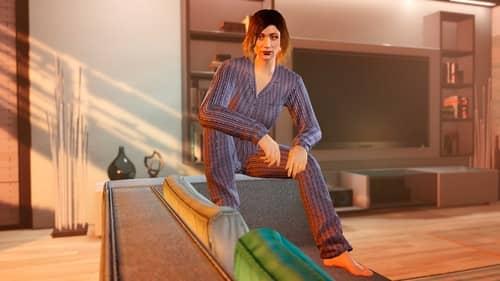 Тёмно-синяя пижама в полоску