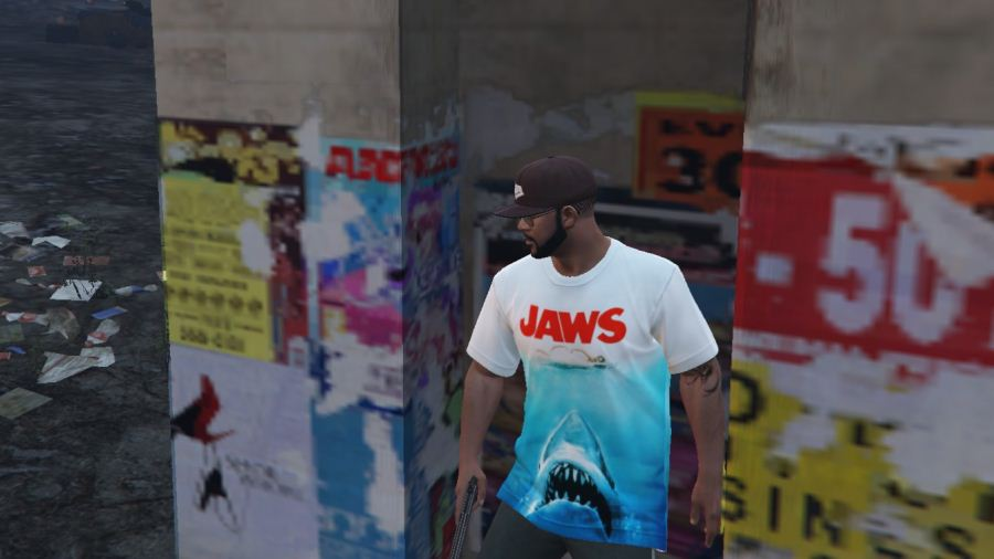 Jaws T-shirt for Franklin для GTA V - Скриншот 2