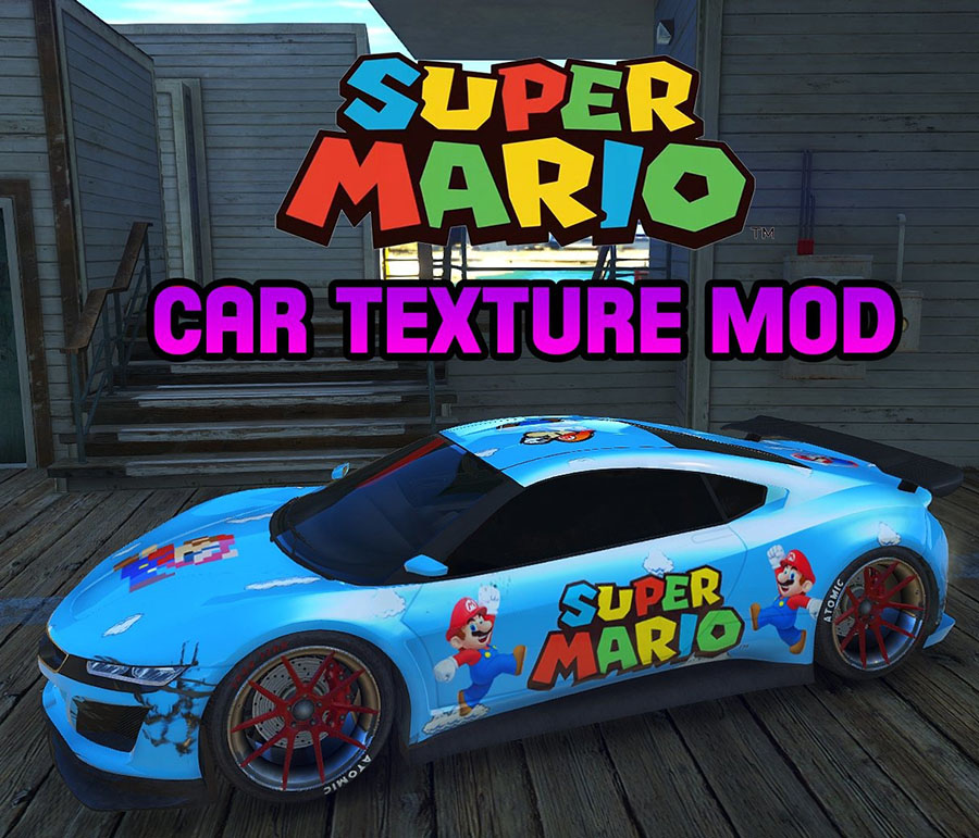 Mario Themed Car Texture Mod для GTA V - Скриншот 1