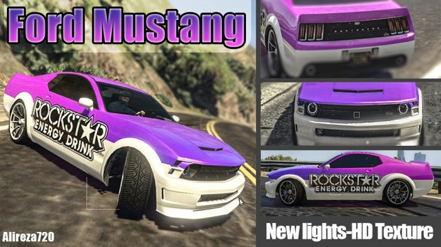 Ford Mustang New Rockstar + New Lights для GTA V - Скриншот 1