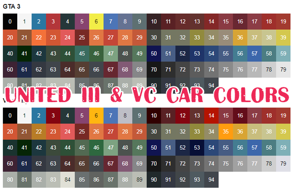 United III & VC Car Colors